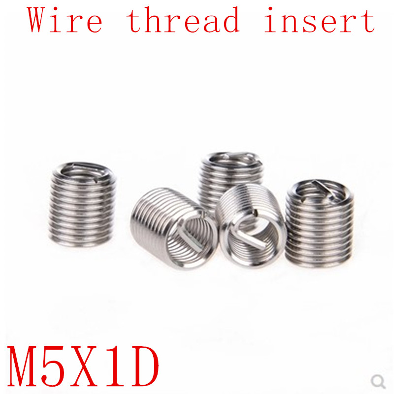 50Pcs M5*1D Stainless Steel Coiled Wire Helical Screw Thread Inserts M5 Screw Bushing Self Tapping Thread Repair Tool