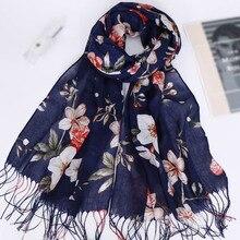 Floral Printed Women's Thin Scarves Muslim Hijab Tassel Islamic Headscarf Cotton Breathable Summer Wrap Bandana Beach Long Shawl