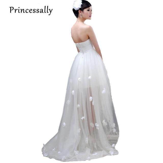209ca0b462 High Low Wedding Dress Mermaid Train Bride Tube Top Flower Wedding Dress  Short Front Long Back Cheap Wedding Dress Under 50
