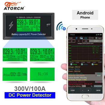 ATORCH DC 300 V 100A dokładne oferty, energii Bluetooth miernik napięcia prądu zasilania woltomierz amperomierz funkcja alarmu przeciążenia kryty