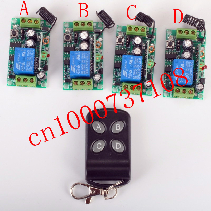 Free shipping 12V 1ch Learning Code Wireless Remote Control 4 receiver Switch System applicance garage door smart home z-wave  free shipping 12v 1ch learning code wireless remote control switch system 1 receiver and 1 transmitter for entrance guard door