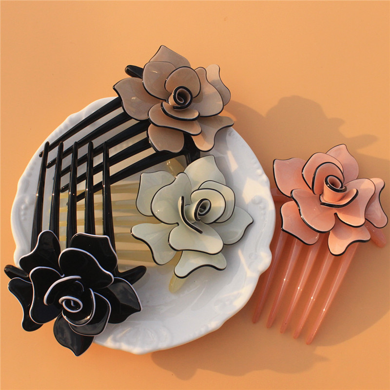 Buena Flower Hair Comb 4 colors Acrylic Clips Hair Jewelry black brown pink  beige Hair accessories a1f5770d41ab