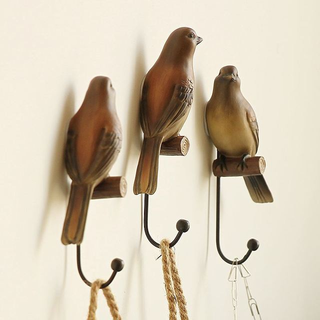 American Decorative Hook Bird Creative Resin Animal Model Bathroom ...