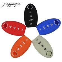 Jingyuqin silicone caso chave para nissan altima maxima sentra teana 2007 2012 inteligente remoto 4 botões fob capa de pele titular
