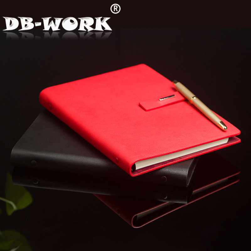 2018 Button type notepad Notebook custom logo leather business loose-leaf book thick creative notepad gifts first layer leather travel notepad retro leather notebook loose leaf diary with lock customized logo business gifts n131