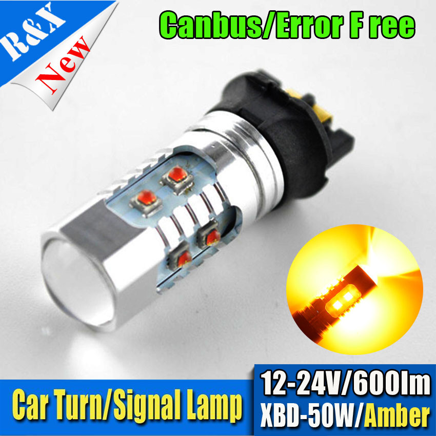 1Pcs Xenon White/Amber PW24W PWY24W C'ree 50W LED Bulbs For Audi BMW Volkswagen Turn Signal Lights or Daytime Running Lights xenon white 1 50 36mm 6418 c5w canbus led bulbs error free for audi bmw mercedes porsche vw interior map or dome lights