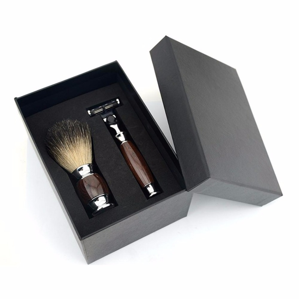 Economic 2pcs/set 3 Layers Classic Safety Razor Kits Mens Badger Shaving Brush Set +Gift Box economic page 3