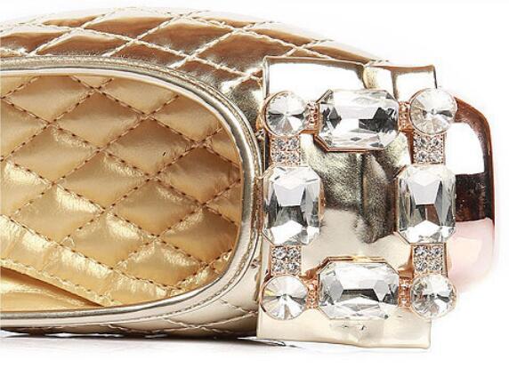 Talon Strass Bateau 42 2019 Bouche Peu Chaussures De silver Profonde Carré gold Femme Plates Orteil Ballet Femmes Louche Mariage Robe Black g6pwPq4x