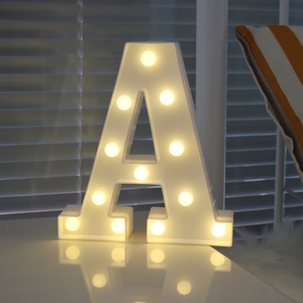 LMID DIY 3D LED Letter LED Night Light Marquee Sign Alphabet  Wall Hanging Night Light Home Wedding Birthday Party Decor