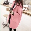 2016 осень и зима новый Корейский свободные большой размер женщин Тонкий был тонкий длинная шерсть пальто женщин