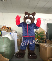 Ohlees Guardians of the Galaxy rocket brown bear raccoon Mascot Costume fanny School sports mascot costomize