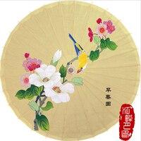 Light Beige Color Oil Paper Umbrella One Branch Flower Blossom Paper Parasol Birds on Tree Paper Umbrella Are Exhibition Hanging