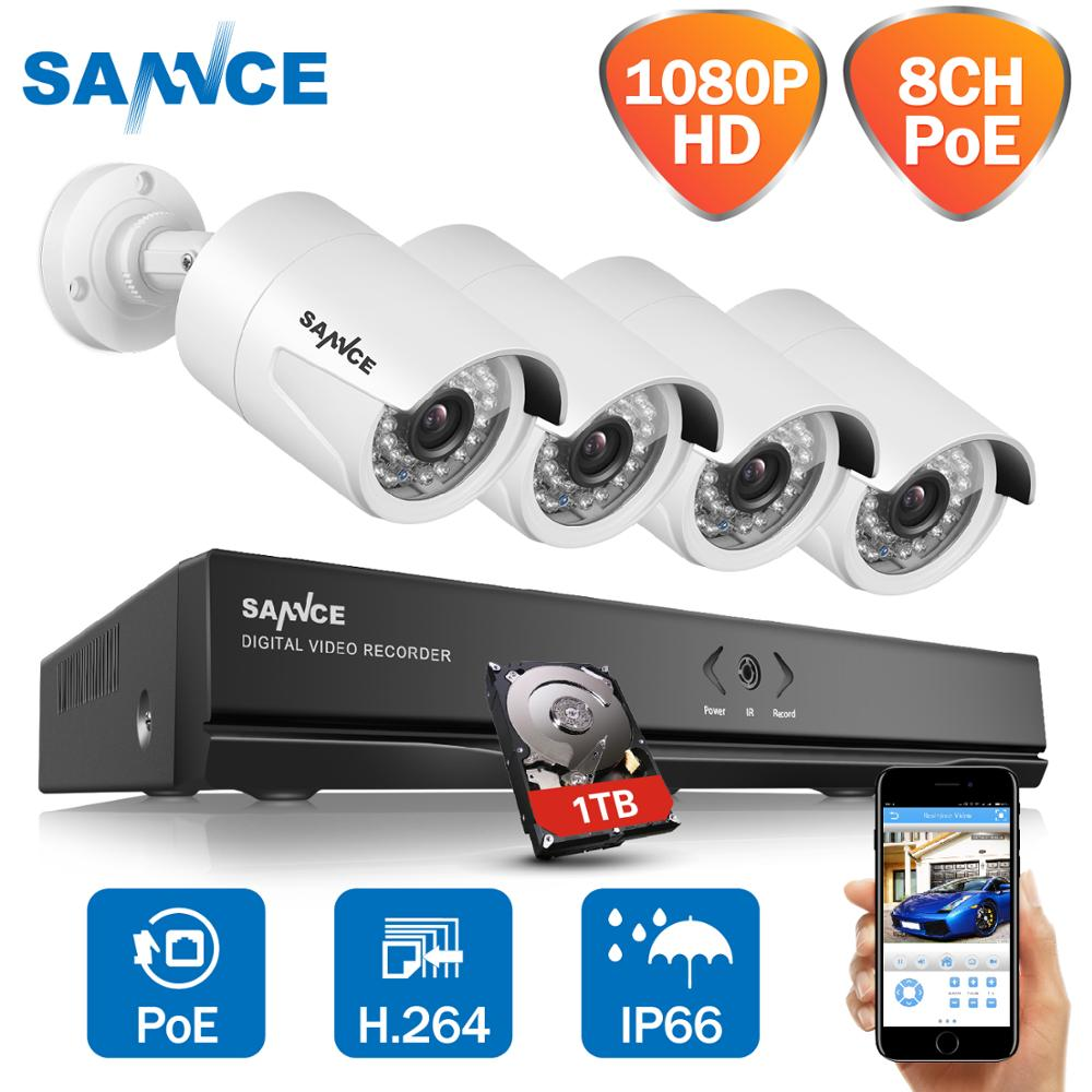 SANNCE 8CH Full HD 1080P POE NVR Kit 4pcs Bala Câmera IP PoE Sistema de Serviço de Nuvem P2P 2.0MP sistema de Vigilância de vídeo de CFTV