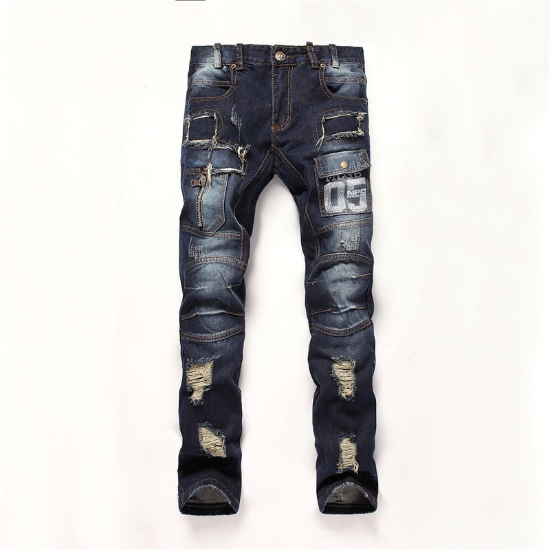 European and American style Fashion trend boutique locomotive jeans Straight bleach patchwork quality beggar jeans men 28-38