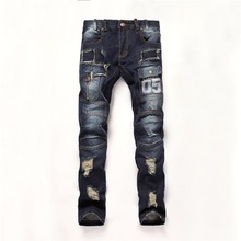 European and American style Fashion trend boutique locomotive jeans Straight bleach patchwork quality beggar jeans men