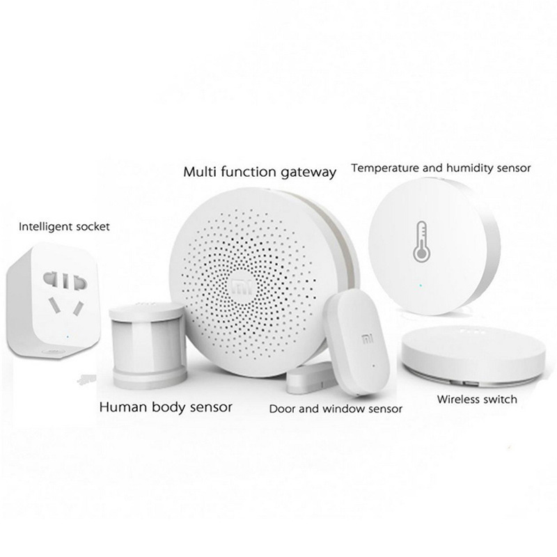 Xiaomi Gate-way + Door / Window, Temperature / Humidity, Human Body Sensor + Wireless Switch + Zigbee Socket Smart Home Kit original xiaomi smart home kit gateway door window sensor human body sensor wireless switch multifunctional smart devices sets