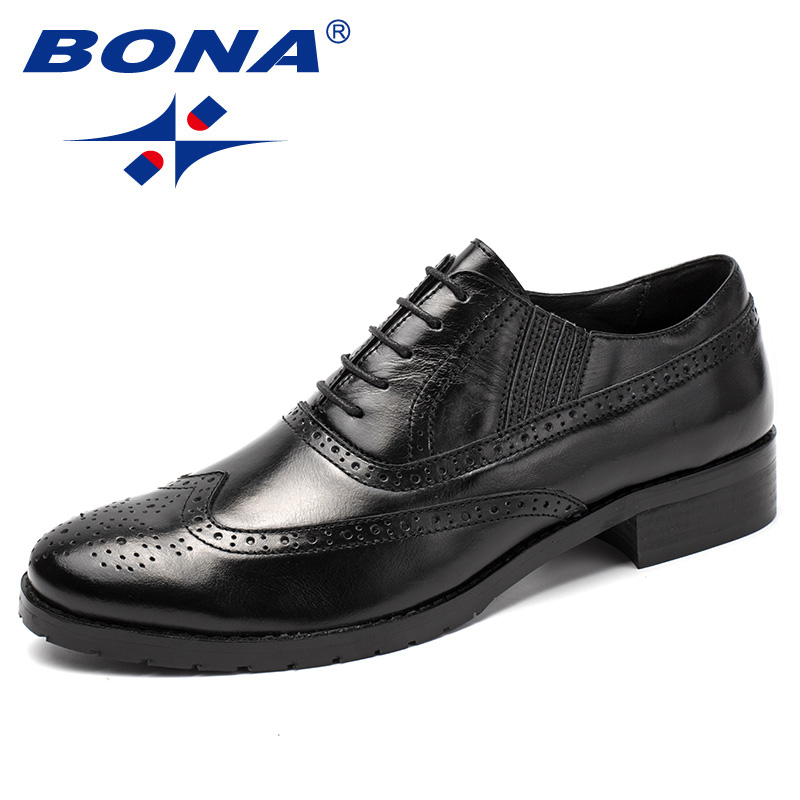 BONA New Fashion Style Men Formal Shoes Genuine Leather Cow Leather Men Dress Shoes Lace Up Men Brogue Shoes Fast Free Shipping new 2018 fashion men dress shoes black cow leather pointed toe male oxfords business shoes lace up men formal shoes yj b0034