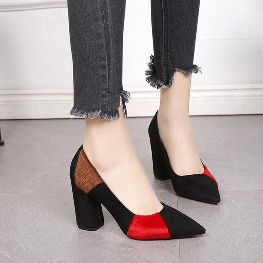 Mujer Baja skid Grueso Tacón rojo Alto Mezclado Punta puesto Solo Color Zapatos Anti De Boca Moda Con Verde 4Iwq0