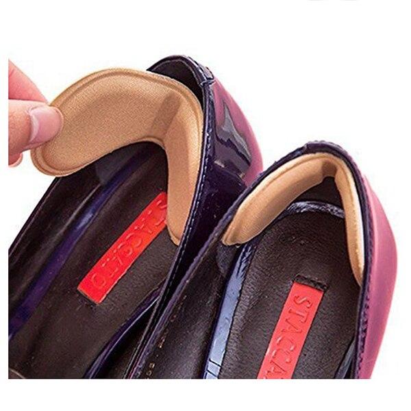 Hot-4 Pairs Shoe Heel Insoles Prevent Rubbing Heel Shoes Heel Stickers Adjustments The Shoes Length Shoe Heel Pad Black+beige