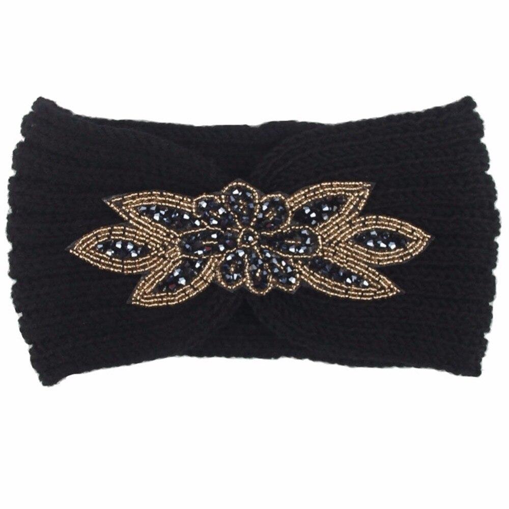 8 Colors Rhinestone Hexagonal Knitted Wool Headbands Bohemian Women Ladies Crochet Coarse Yarn Hair Bands Accessories