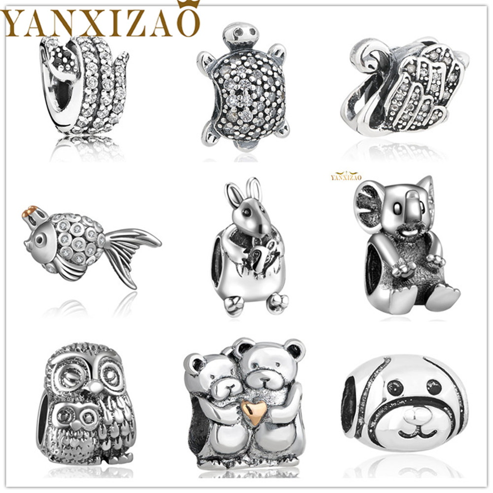 Yanxizao Silver 925 European Lovely Cute CZ Charm Beads Fit Pandora Style Animal Shape Bracelet DIY Jewelry Originals Gift x12