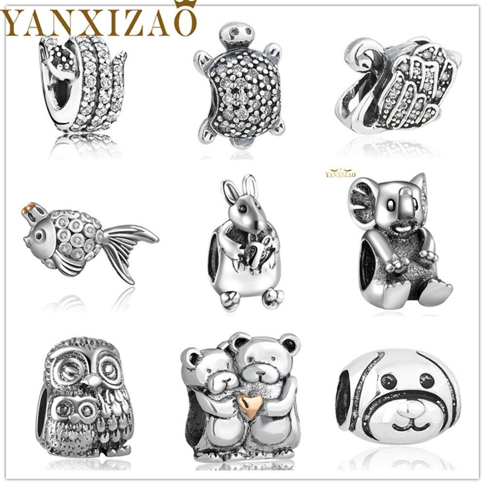 Yanxizao Silver 925 European Lovely Cute CZ Charm Beads Fit Pandora Style Animal Shape Bracelet DIY Jewelry Originals Gift x12