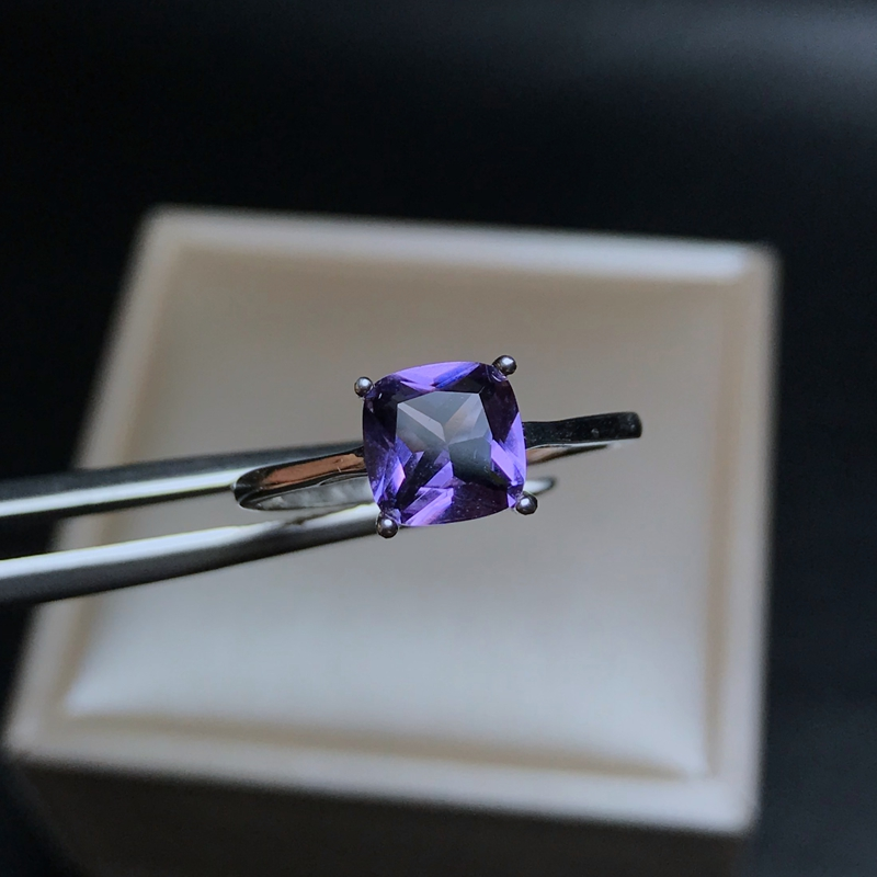 Simple AMETHYST RING 925 silver discount benefits genuine mail