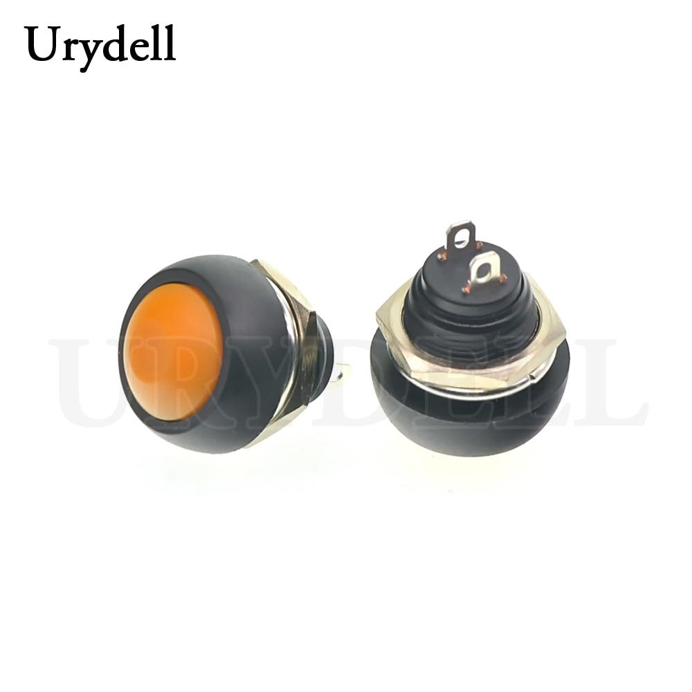 1 шт. красный/зеленый/белый/черный/синий/желтый/оранжевый ВКЛ-ВЫКЛ 12 мм водонепроницаемый Мгновенный кнопочный переключатель SPDT - Цвет: Orange