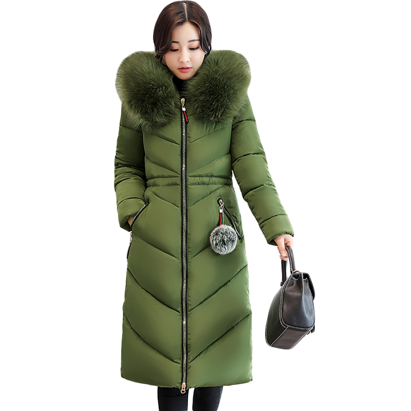 Plus Size L-7XL 2018 Winter Jacket Women Long Slim Large Fur Hooded Women Down Cotton Coat Thick Warm Female Wadded Parka CM1797 2017 new women winter jacket long solid color fur hooded slim big size female cotton coat wadded warm parka outerwear ok1006