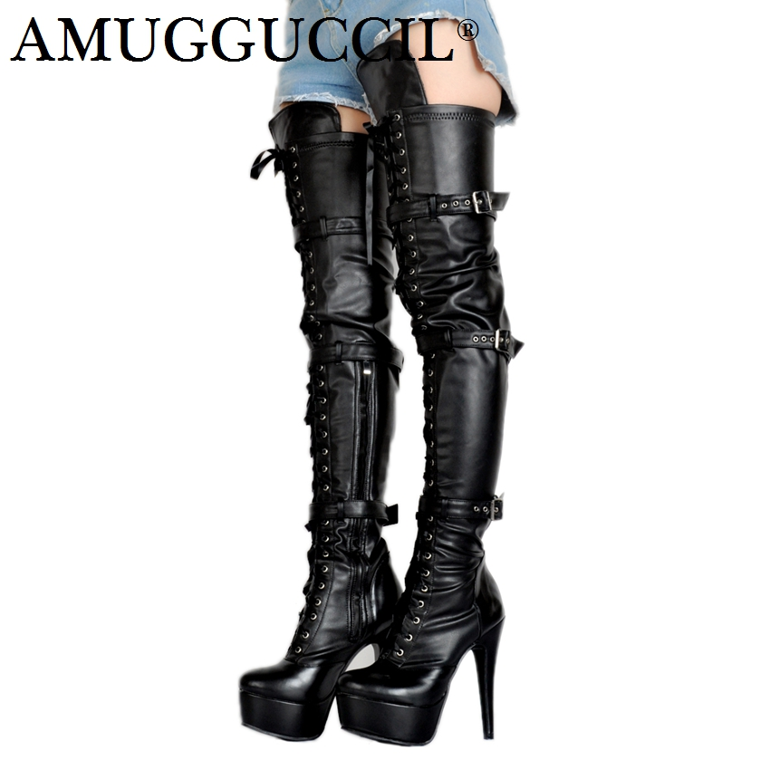 2018 New Plus Big Size 34-52 Black Zip Buckle Sexy Thigh High Heel Platform Over The Knee Ladies Women Autumn Winter Boot X1713