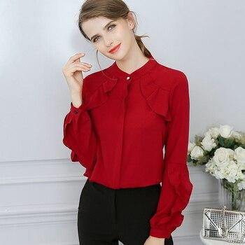 8afe7efc30a Для женщин Осень плюс Размеры О-образным вырезом Блузка однобортный  сплошной Цвет Повседневное Бабочка рубашка с длинными рукавами