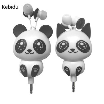Kebidu Wired Earbuds Cat Panda 3.5mm Handsfree Earphone Music Headset MP3 Headphones Wholesale