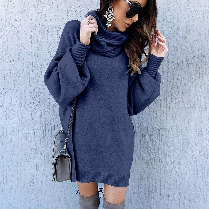 5 Colors European And American Fashion New Loose Long High Collar Sweater Women's Sweater