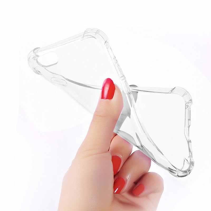 وسادة هوائية لهاتف iPhone XS MAX XR غلاف شفاف ومضاد للصدمات من مادة البولي يوريثان الناعم الشفاف لهواتف Apple 7 8 Plus X 6 6S 5 5s SE Coque