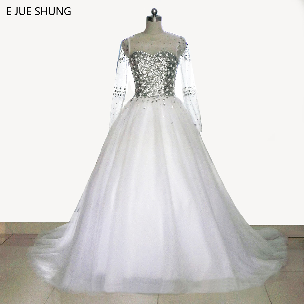 E JUE SHUNG Lengan Panjang Ball Gown Wedding Dresses pernikahan & de noiva Kristal Wedding Gowns Lace Up Kembali jubah de ...