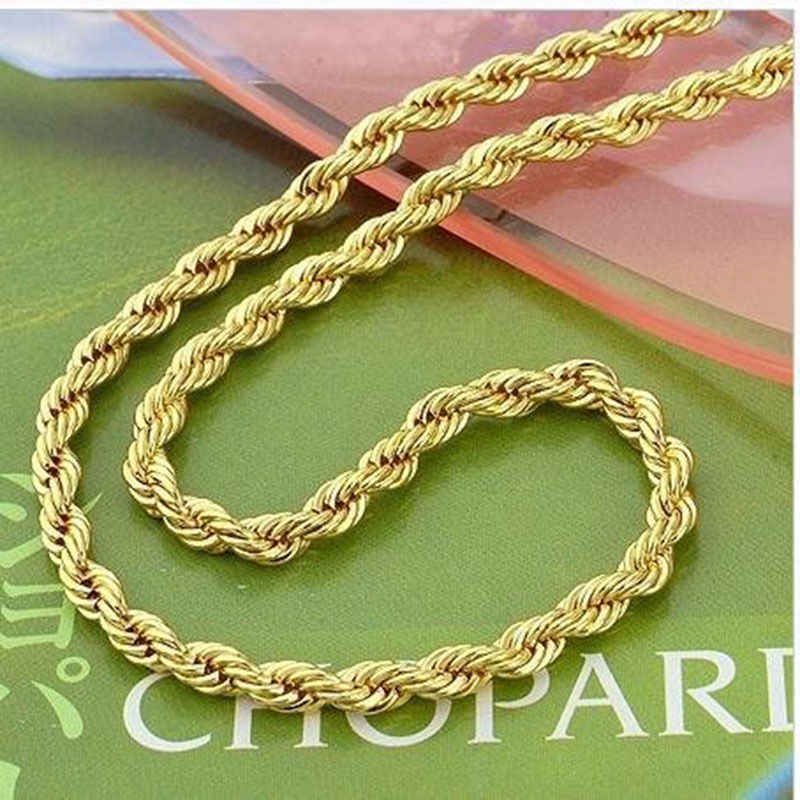 "Corda Chain link carati Giallo Gold Filled Torto Womens Mens Collana 23.6 "", 4mm"