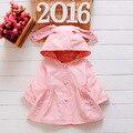 2016 Estilo Lolita ropa de Abrigo Con Capucha Bebé Chaqueta de color rosa de La Moda Llena de Manga Chaquetas Para Niñas Primavera Otoño Algodón de Los Niños escudo