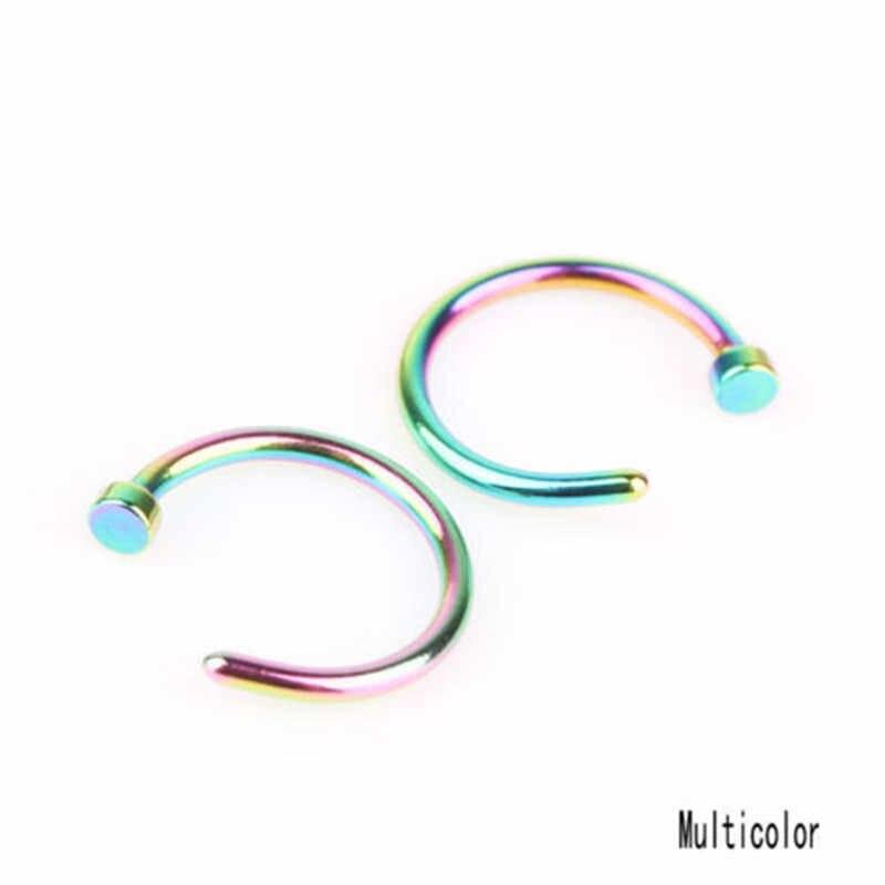 แฟชั่นปลอม Septum ไทเทเนียมแหวนจมูกเจาะสีทองคลิป Hoop สำหรับผู้หญิง Septum คลิป Hoop เครื่องประดับของขวัญ