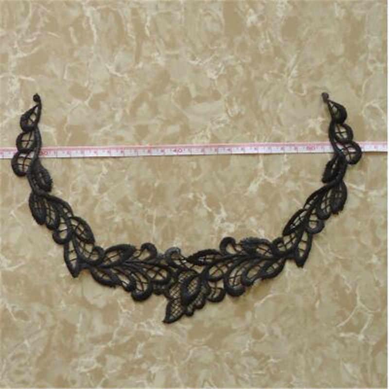 3 chiếc Cao cấp Họa Tiết Táo Ngà đen Cổ Viền Cổ Cổ Hoa Venise Ren Cốp Thủ Công 24X18cm YL0029