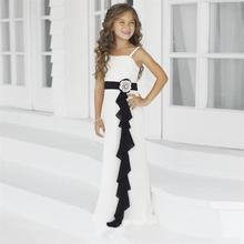 2017  Junior Bridesmaid Dress Spaghetti Strap A Line Floor Length Flower Girl Dresses Chiffon Gowns with Black Sash HT153