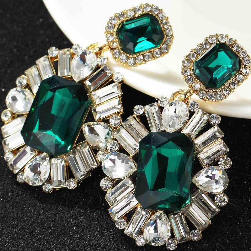 Women Fashion Earrings Green Glass New Arrival Sweet Metal Stud Crystal Earrings For Women Girls