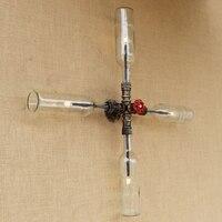 Винтаж промышленных светодио дный бра 4 огни Утюг ржавчины крест Стекло оттенок воды трубы Настенные светильники для гостиной спальня рест