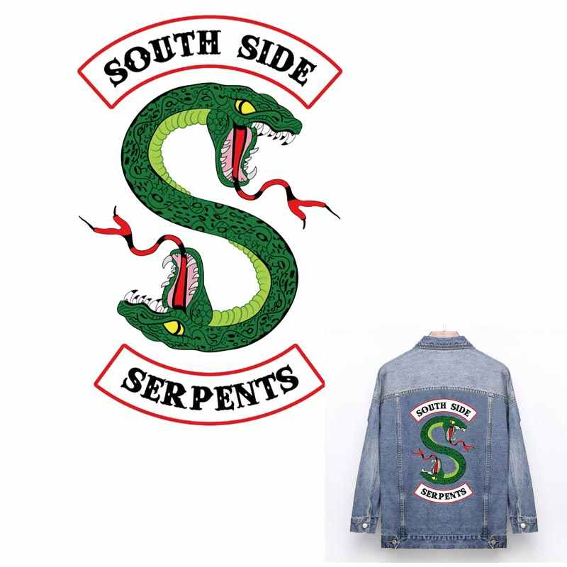 Cool Riverdale South Side Serpents Jackets Iron on Patches Green Double-headed Snake Patch for Jersey Stickers for Clothes ZH-03