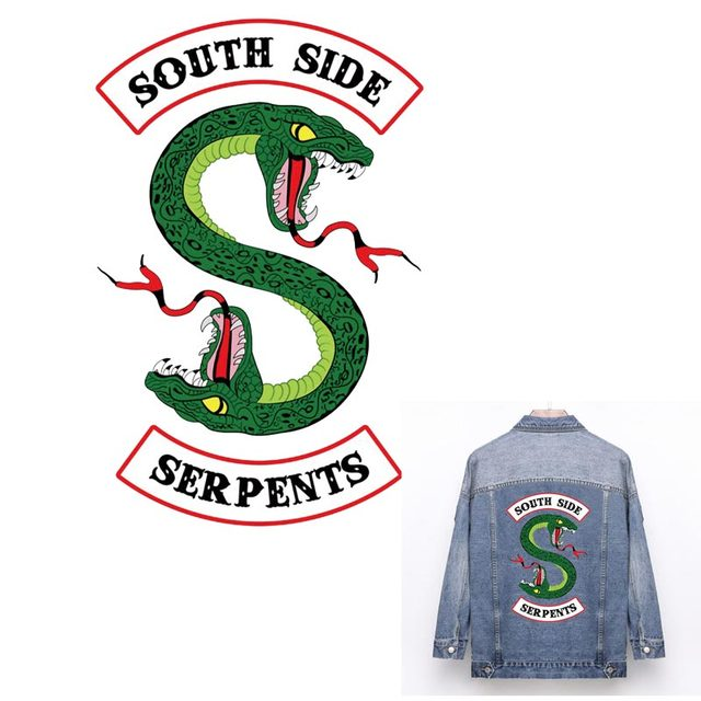 """Прохладный ривердейл южной стороне змеи куртки Утюг на нашивки зеленый зубная щетка с двумя головками и нашивка """"Змея"""" для Джерси наклейки для одежды ZH-03"""