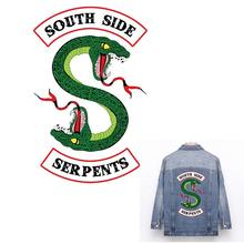 Cool Riverdale South Side Serpents Jackets Iron on Patches Green Double-headed Snake Patch for Jersey Stickers for Clothes ZH-03(China)