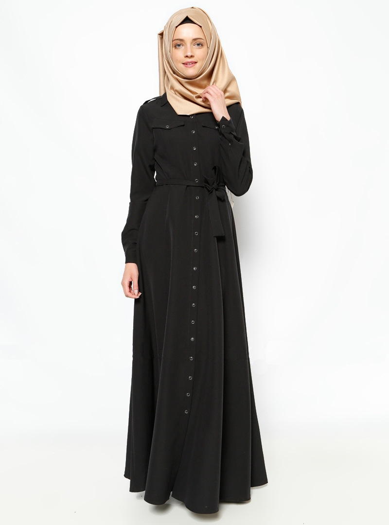 2018 New Arrival Islamic Black Abayas Muslim Long Dress For Women Malaysia Abayas In Dubai Turkish Ladies Clothing High Quality