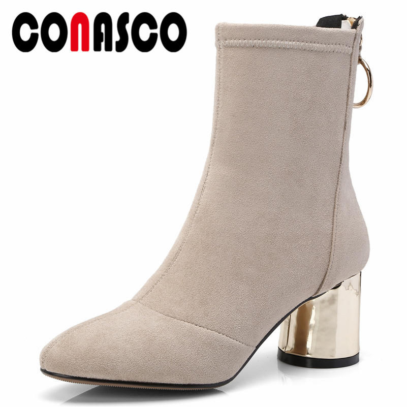 CONASCO New Arrival Women Ankle Boots Autumn Winter Warm High Heels Shoes Woman Round Toe Metal Decoration Concise Casual ShoesCONASCO New Arrival Women Ankle Boots Autumn Winter Warm High Heels Shoes Woman Round Toe Metal Decoration Concise Casual Shoes