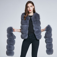 Зимняя куртка, жилет на натуральном меху, кожаное пальто из натурального меха, пальто с лисой, меховая теплая Модная полосатая новая скидка