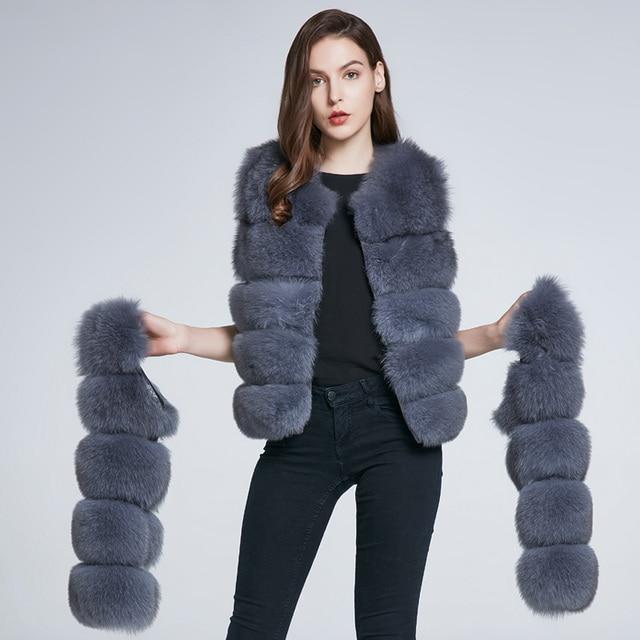 Winter Jacket Fox Fur Vest Real Leather Coat Natural Fur Fox Coat Furry Warm Fashion Stripe New Discount 2018 New Discount