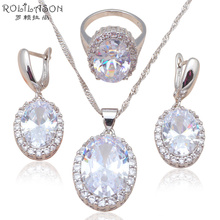 ROLILASON Silver stamped Earring Necklace Pendant rings 43cm Chain AAA CZ Fashion Jewelry Set for women party JS586